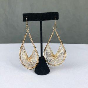 Bebe | Gold Tear Drop Wire Hoop Earrings
